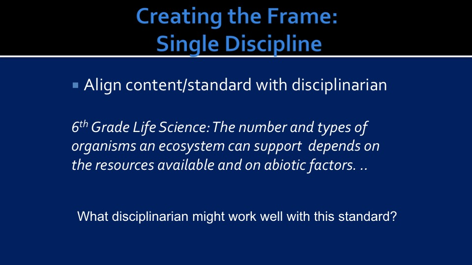 Align Standards with Discipline