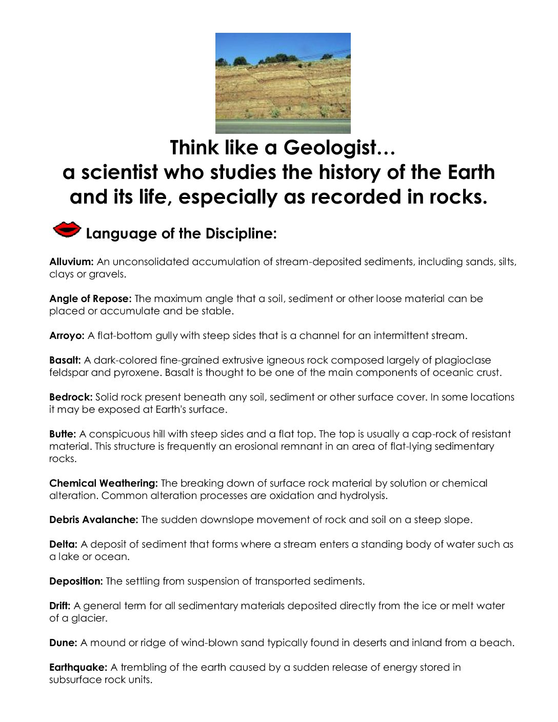 Think like a geologist sheet