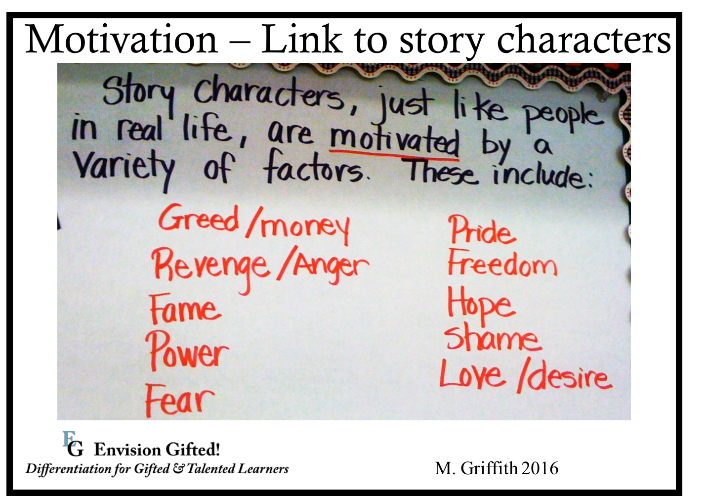 Envision Gifted. Motivation- Link to story characters
