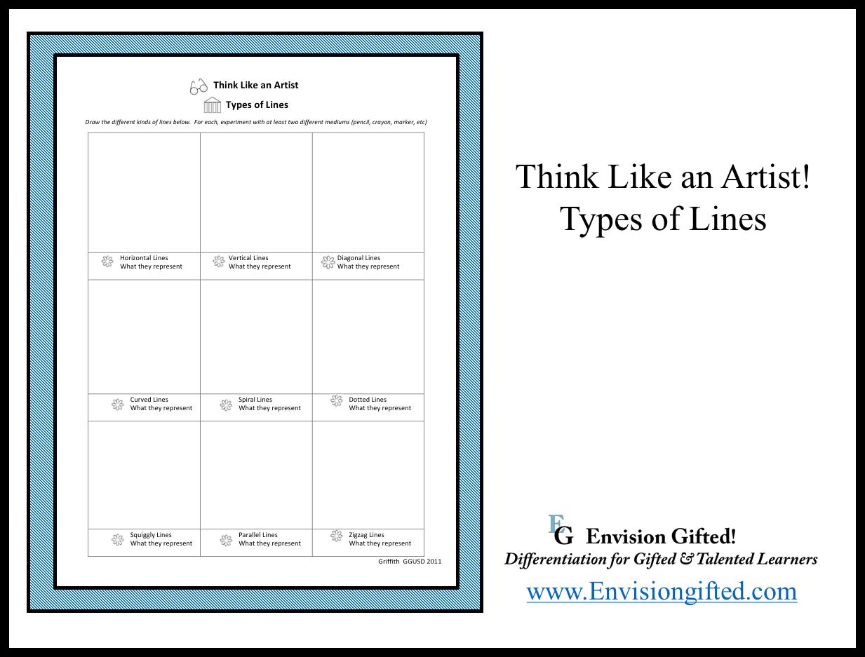 Envision Gifted. Think Like an Artist- Types of Lines
