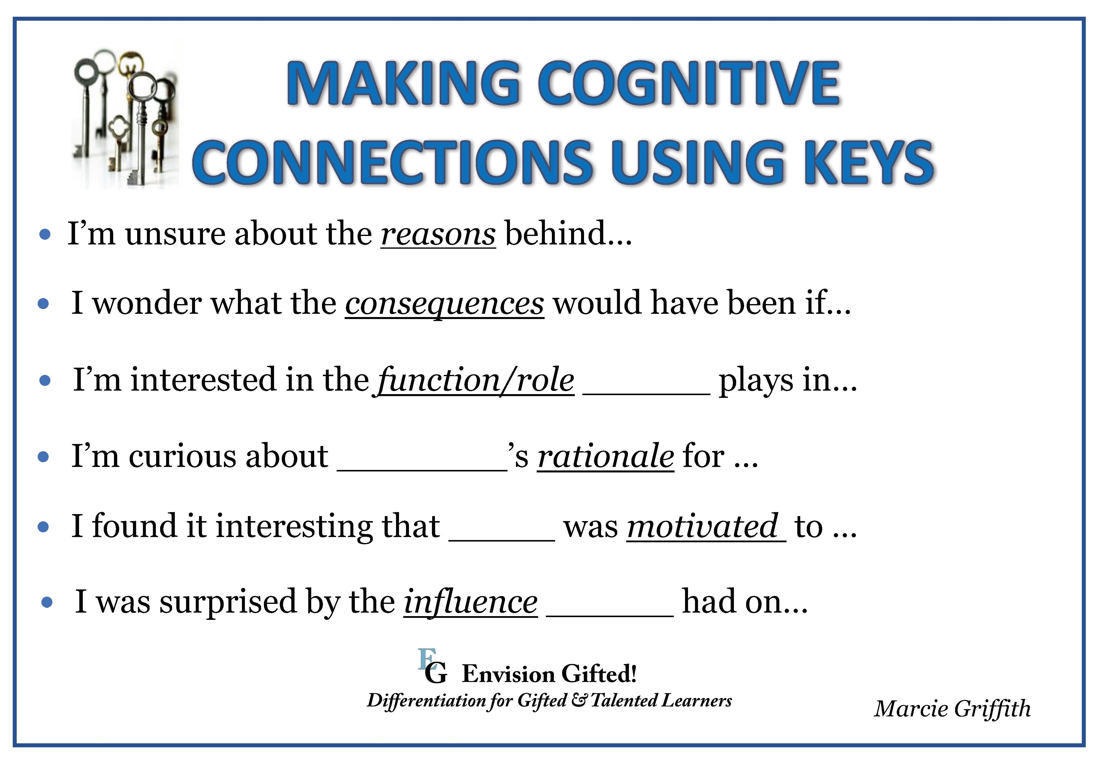 Envision Gifted. Cognitive Connections Keys