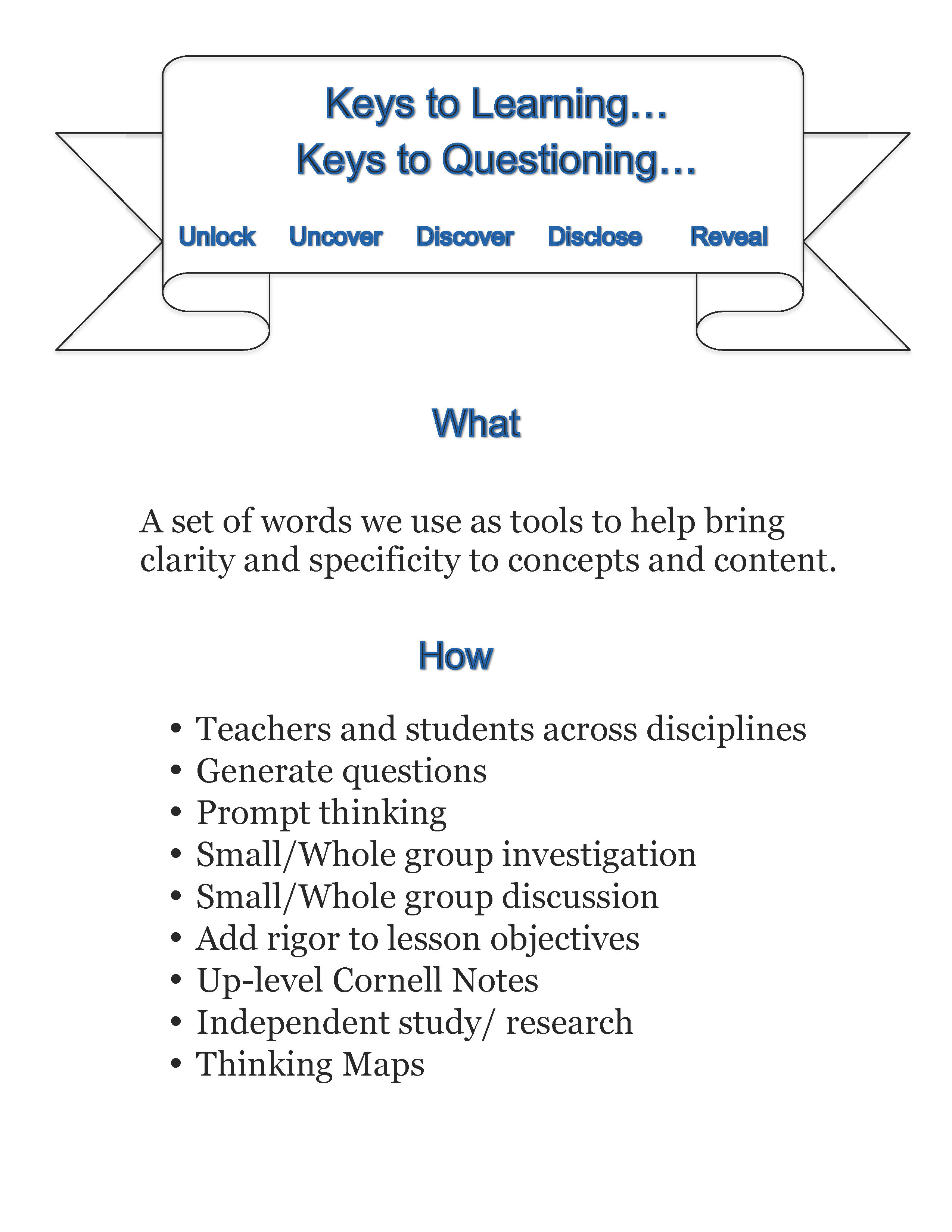 Envision Gifted. Keys-A set of words we use as tools to help bring clarity and specificity to concepts and content